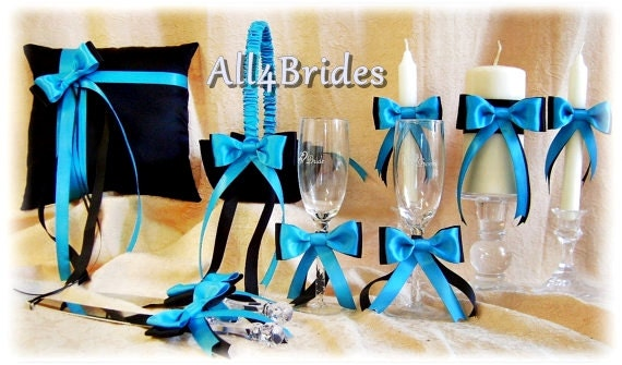 Turquoise and Black Wedding Ring Pillow Basket Ceremony