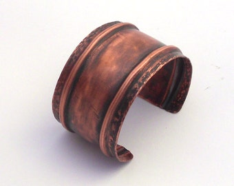 Fold Formed Copper Cuff Bracelet with a Hammered Texture and Brushed Patina, Copper Bracelet