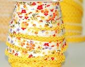 Double fold picot crochet edge bias tape, crochet bias tape, picot edge bias tape. lace bias tape, yellow floral bias tape, cotton bias tape