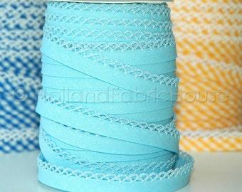 Double fold picot crochet edge bias tape, crochet bias tape, lace bias tape, picot edge bias, baby blue bias tape, baby blue solid bias tape
