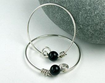 Black Onyx Sterling Hoop Earrings, Medium Silver Hoops, 5mm Gemstones, Unique Locking Original Modern Design
