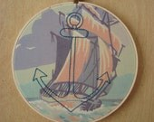 Embroidered Anchor on Ship Paint by Number Fabric Hoop