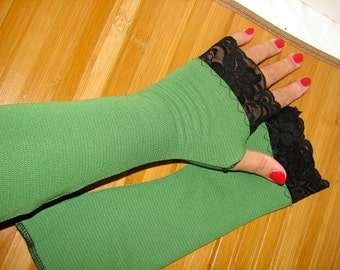 One Pair Only Moss Green with Black Lace Fingerless Gloves Arm Warmers Size Medium