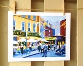 Little Italy Cafe Art New York Art Wall Decor, Caffe Napoli, Italian NYC City Art Print Cityscape Painting by Gwen Meyerson