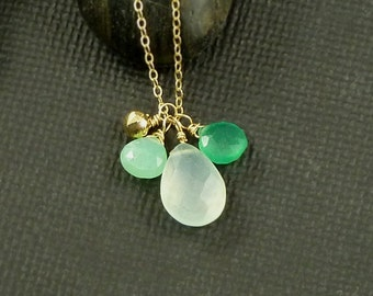 Chalcedony  Chrysoprase Green Onyx Gold Gemstone Charm Briolettes Layering Necklace Christmas Jewelry