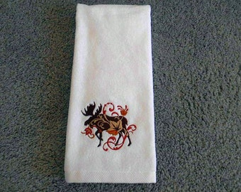 White, Velour HAND Towel --  with machine embroidered MOOSE amid filligree swirls