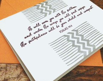 Box Set of 6 Bible Verse (Psalm 91:4) Letterpress Greeting Cards (Various Colors Available)