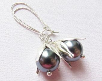 Pearl Earrings South Sea Sterling Silver 925, Dark Pearl, Flower earrings, Tahitian Pearl Earrings