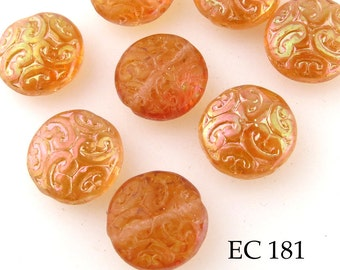 14mm Brocade Coin Czech Glass Beads, Apricot (EC 181) 6 pcs BlueEchoBeads