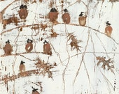 Art,  fine art print for sale,  giclee prints, brown, white, bird art, home decor, best seller artist, delicate, small birds,The Masterpiece