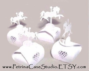 "Carousel Horse Favor box LARGE WHITE 3""square base x 5""H  -Fits Hostess Cupcake Item 1293 white-Made in the USA -Fits Lil Debbie Cupcake"