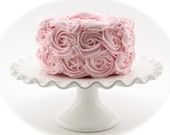 "Rosette Fake Cake Pink Frosting Approx. 6.75""w x 4""h Fab Photo Prop, First Birthday Decor, Shabby Chic Decor for your Kitchen"