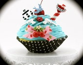 Fake Cupcake Rockabilly Vintage Tattoo Inspired Anchor, Cherries, Rose, Heart, Gun Decor Can Be Photo/Business Card Holder Fab Birthday Gift