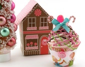 Hansel and Gretel Fake Cupcake with Gingerbread House Box Candy Land Christmas Decor Secret Santa Gift Stocking Stuffer Holiday Photo Prop