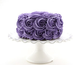 "Rosette Fake Cake For Your Kitchen Decor Medium Purple Frosting Approx. 6.75""w x 4""h Fab Photo Prop, First Birthday Decor, Shabby Chic"