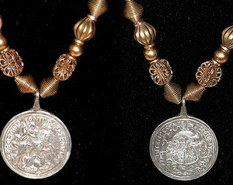 Vintage Necklace - Tribal Brass Bead Necklace - Pendant Charm Talisman - St George Dragon Coin Medallion - Boat Safety Storm