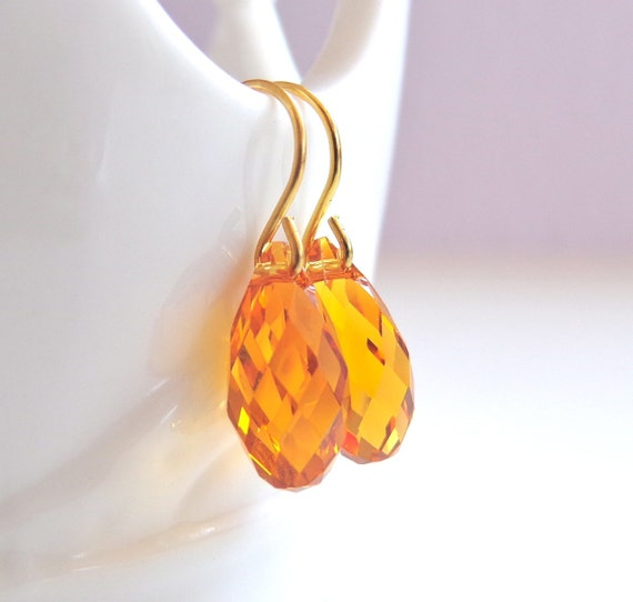 Topaz Teardrop Briolette Earrings - Amber Crystal Earring - Bridesmaid Jewelry