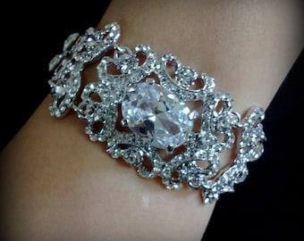 Swarovski Bridal Bracelet, Victorian Wedding Bracelet, Swarovski Crystal Bridal Bracelet, Wedding Jewelry, Statement Bracelet, VICTORIA