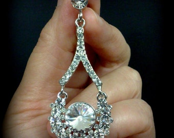 SALE - Bridal Earrings, Clip On Earrings, Cluster Jewelry, Swarovski Crystal Earrings, Silver Earrings, ATARI