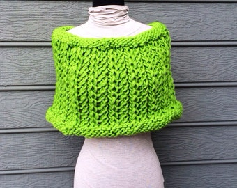 Green Shoulder Wrap - Lime Green - Knit Wrap - Wool Shrug - Christmas Gifts - Knit Sweater - Chunky Knit -  Green Shoulder Wrap - Knit Wrap