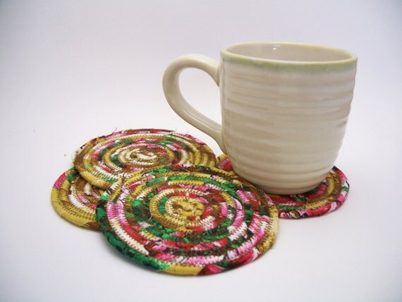 Multicolor Coiled Fabric Coasters Set of 4 Shabby Chic