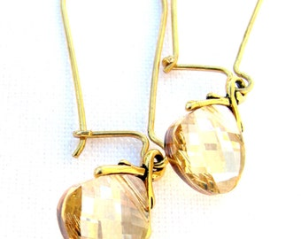 Swarovski Crystal Earrings, Yellow Gold Vermeil Earrings, Antique Gold Leaf Bails, Classy Gift For Her