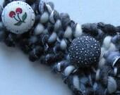 "Black & white headband, 2 1/4"" wide hand knit warm gray SOFT wool winter, cherry button, adult women teen girl head band crochet i977"