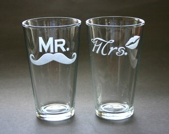 Mr Mrs His and Hers Etched Glasses Lips Moustache Mustache Engraved Beer Pints Weddings
