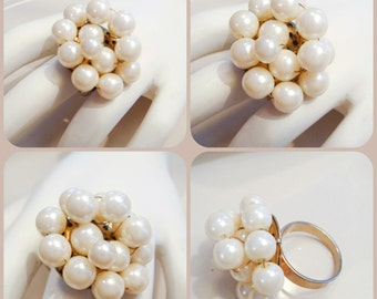 Vintage Pearl Ring with Wire Wrapped Pearls on size 8 Gold band