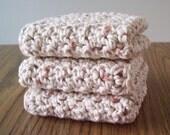 SALE 3 Crochet Washcloths in Natural Fleck