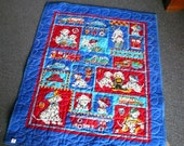 CJ finished baby quilt royal blue dalmation