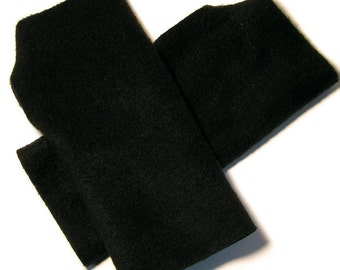 MENS Fingerless Gloves / Mittens Warmers - Black Fleece