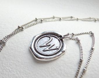 Antique Silver Wax Seal - W - Monogram Necklace
