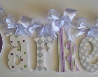 GLITTER and SPARKLE, custom personalized painted wall letters, baby childrens wall letters, art for kids