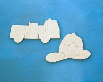 Childrens Wood Puzzles - Set of 2 Wooden Fire Truck and Fire Helmet Puzzles - Makes a Great Gift for Kids and Toddlers