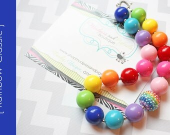 chunky necklace { Rainbow Classic }  First birthday, cake smash, Circus pageant, My lil Pony, toddler necklace photography prop