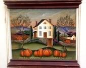 Hand Painted Wood Plaque Pumpkin Farm