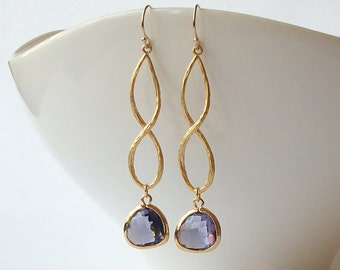 Amethyst Purple Infinity Earrings