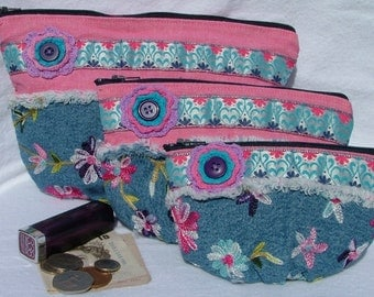Denim cosmetic/ toiletries / money pouch / purse set