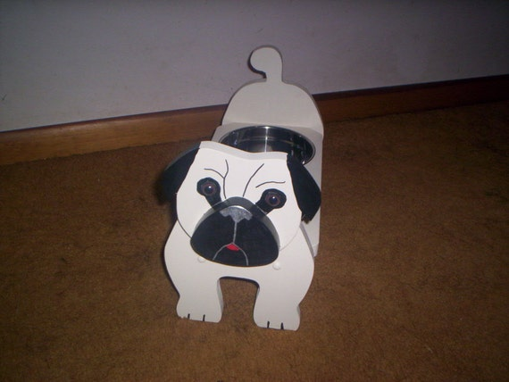 Pug elevated feeder, hand crafted and hand painted