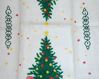 Vintage Christmas Tree and Sleigh Kitchen Towel