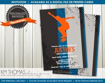 SKATEBOARDER...Custom Printable Birthday Invitations...by KM Thomas Designs Item 133