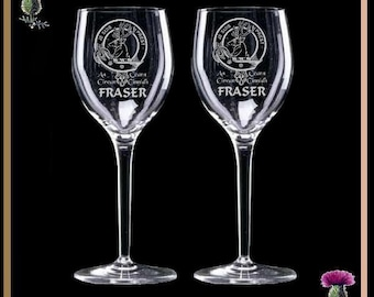Scottish Clan Crest Engraved Wine Glasses - Two - All Clans
