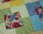 Lap Quilt, Floral Quilt, Pansy quilt, 66x54, reds, blues, greens, yellows, primary color quilt, gorgeous florals, machine quilted, patchwork