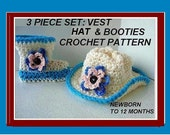 Crochet Pattern Cowboy Boots  Cowboy Hat Cowboy Vest - for Baby, newborn to 12 months, number 550