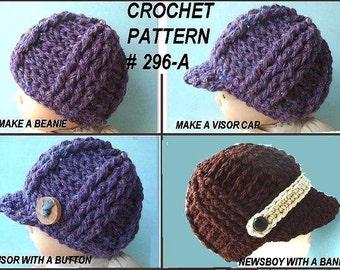Crochet Pattern hat, num 296A, Cable Newsboy  Visor Hat, kids, men, women, children, ok to sell your hats.
