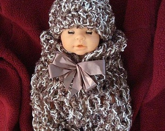 num. 404, Crochet Pattern... Swaddler and hat, baby set, Permission to sell your finished items, instant digital download