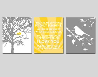 Yellow Gray Grey Nursery Art Trio - Birds in a Tree, You Are My Sunshine, Bird on a Branch - Set of Three 8x10 Prints - CHOOSE YOUR COLORS