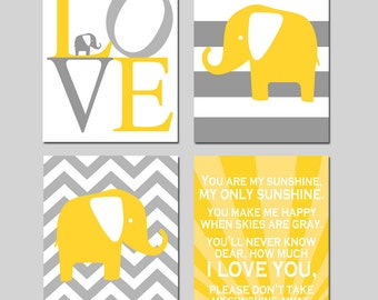 Elephant Nursery Art - You Are My Sunshine, Elephant Love, Striped Elephant, Chevron Elephant - Set of Four 8x10 Prints - CHOOSE YOUR COLORS