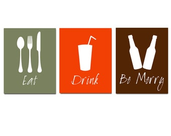 Eat, Drink and Be Merry - Kitchen Wall Art - Set of Three Coordinating 11x14 Prints - Kitchen, Bar, Dining Room Decor - CHOOSE YOUR COLORS